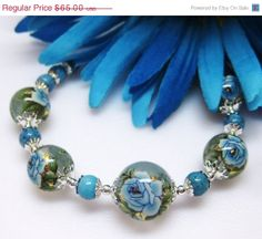 CIJ SALE Baby Blue Bracelet  Blue Rose by MyGemstoneDesigns, $55.25