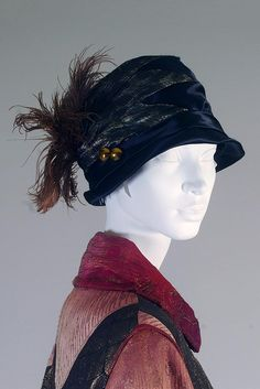 Black silk satin cloche, American, 1920s-30s, KSUM 1999.44.19.