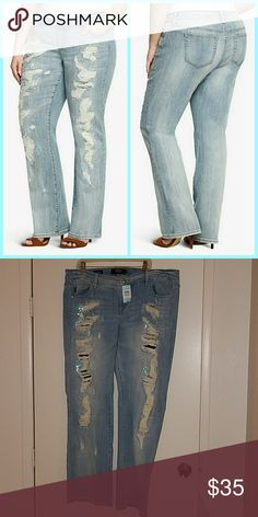 17c46718dab Torrid Relaxed Boot Cut Sequin Destruction Jean 20 NEW WITH TAGS. NEVER  WORN. Torrid