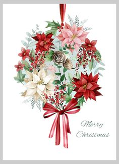 Poinsettia card by Victoria Nelson - Xmas Botanical 4 Copy Noel Christmas, Vintage Christmas Cards, Christmas Pictures, Xmas Cards, Christmas Greetings, Winter Christmas, Christmas Wreaths, Christmas Crafts, Christmas Decorations
