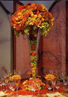 Fruit and floral arrangement by designer Preston Bailey - I have a book of his and his designs are fab! I will encourage myself to create a beautiful fall table arrangement! Fruit Centerpieces, Wedding Centerpieces, Centerpiece Ideas, Centrepieces, Deco Fruit, Decoration Entree, Flowers Decoration, Deco Floral, Floral Design