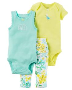Baby Girl 3-Piece Babysoft Bodysuit Pant Set from Carters.com. Shop clothing & accessories from a trusted name in kids, toddlers, and baby clothes.