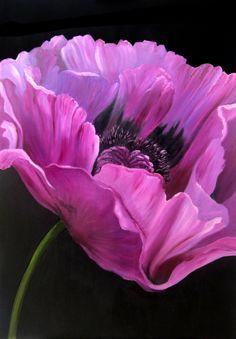Pink Poppy Painting by Anneke Janszen Art Floral, Big Flowers, Beautiful Flowers, Draw Flowers, Watercolor Flowers, Watercolor Paintings, Poppies Painting, Poppy Flower Painting, Poppy Drawing