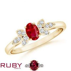 Stunning ruby gemstone studded in gold ring which is accented by flower shape diamond cluster. Gemstone Jewelry, Jewelry Rings, Jewellery, Ruby Stone, Flower Shape, Heart Ring, Gold Rings, Fashion Jewelry, Wedding Rings
