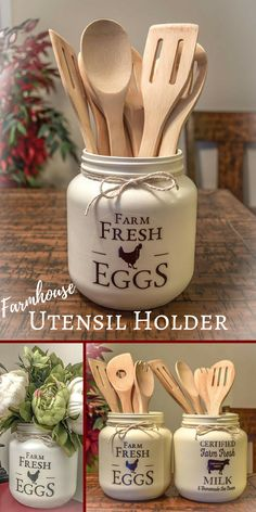 Adorable Farm Fresh Utensil Holder. This would be such a cute way to hold my utensils. #farmhouse #ad #farmhousestyle #countrykitchen