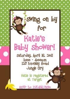 Girl monkey baby shower invitation monkey baby shower pink monkey baby shower invitation printable by thetrendybutterfly filmwisefo