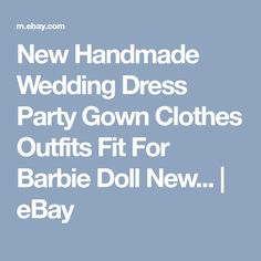 New Handmade Wedding Dress Party Gown Clothes Outfits Fit For Barbie Doll New... | eBay