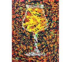 Jackson Pollock Splatter Painting of Teku Beer Glass, Drip Painting, Abstract Impressionism, Beer Drinker Birthday Gift, Man Cave Bar Decor Drip Painting, Painting Abstract, Craft Beer Gifts, Beer Art, Man Cave Bar, Jackson Pollock, Paint Splatter, Famous Artists, Glass Art