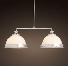 pulley pendants and restoration hardware on pinterest. Black Bedroom Furniture Sets. Home Design Ideas