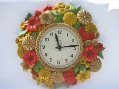 Photo of Mod flowers bright zinnias kitchen wall clock, retro Syroco plastic, 70s vintage #1