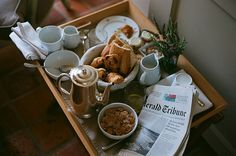 coffe, croissant, news paper