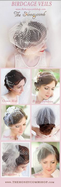 Birdcage veils for weddings, with crystals and pearl embellishments. Choose from French/Russian netting, tulle, layers, pearls, and Swarovski details! Bridal hair accessories by The Honeycomb. Also on Etsy: www.thehoneycomb.etsy.com