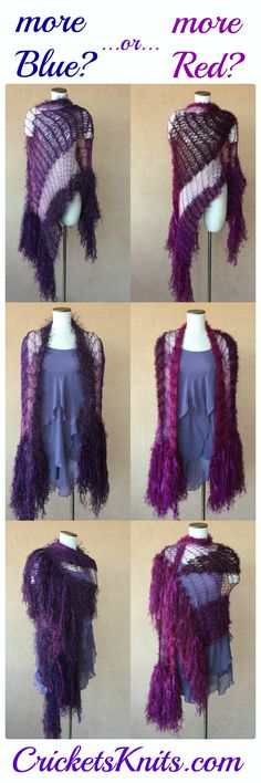 Couldn't decide which type of purple that I liked better for the latest color variation on the black shawl that I designed for Stevie Nicks, so I made one of each! ;)