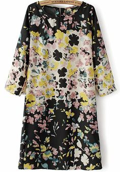 Black Long Sleeve Floral Slim Dress