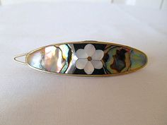 Vintage 70's Alpaca Silver inlay hair Barrette by houuseofwren