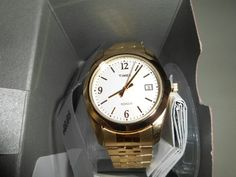 Timex Men's Fashion Watch: Gold-tone Stainless Steel Band/White Dial (T2N315)