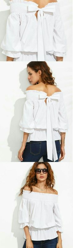 f2dbbc6938 Shop White Off The Shoulder Bow Tie Back Blouse online. SheIn offers White  Off The Shoulder Bow Tie Back Blouse & more to fit your fashionable needs.