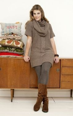 Sweater Dress | Scarf | Tights | Boots