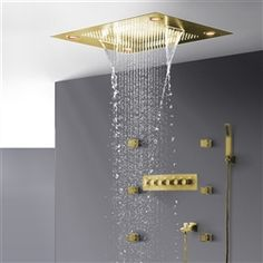 BathSelect Brushed Gold Romantic Environment LED Shower Head With Stress-Free Body Jet & Hand Held Shower Bronze Shower Head, Led Shower Head, Gold Shower, Shower Set, Bathroom Shower Heads, Bathroom Kids, Italian Bathroom, Shower Panels, Hand Held Shower