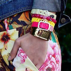 Hot Pink/Yellow #Charay #Erika #Madison #Kacy #CutoutInitialRimmed