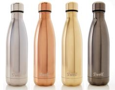 This insulated S'well water bottle will keep a beverage cold for 24 hours  or hot for 12 hours. Metallic, high-gloss finish. Made from BPA-free,  double-walled stainless steel. A vacuum seal keeps liquids and carbonation  fresh. Packaged in a cardboard tube for easy gifting. Capacity: 17oz.  S'well®, is a proud supporter of the U.S. Fund for UNICEF.  Swell also supports American Forests and Drink Up.