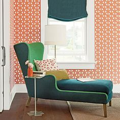 Think Outside the Box  Two-tone upholstery in emerald and forest hues on the chaise makes for a sweet spot to curl up with a book or an af...