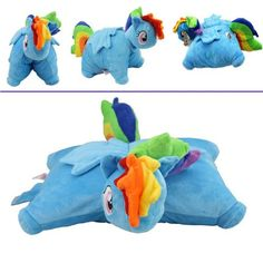 "Transforming My Little Pony Friendship is Magic Rainbow Dash Pillow Plush Cushion Cuddly 16"""
