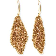Diane von Furstenberg Thea Mesh Drape Earrings ($148) ❤ liked on Polyvore featuring jewelry, earrings, gold, special occasion jewelry, chain earrings, french hook earrings, mesh jewelry and evening jewelry