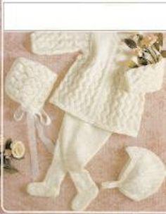 Items similar to PDF Vintage Baby Knitting Pattern Lacy Pram Set Leggings BRONTE 528 Matinee Bonnet Helmet Pull ups Christening Baby Doll on Etsy Knitting For Kids, Double Knitting, Baby Knitting Patterns, Baby Patterns, Knitting Projects, Hand Knitting, Crochet Patterns, Sweater Patterns, Crochet Ideas