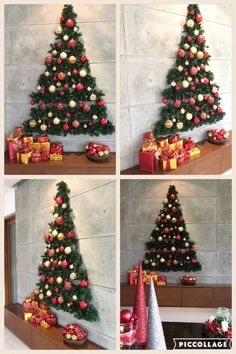 Looking for Christmas decoration for small space. Then you should definetly put up a wall Christmas Tree. Here are best DIY Wall Christmas tree ideas. Wall Christmas Tree, Unique Christmas Trees, Noel Christmas, Simple Christmas, Christmas Ornaments, Christmas Tree Ideas For Small Spaces, Christmas Decorations Apartment Small Spaces, Christmas Background, Christmas Lights