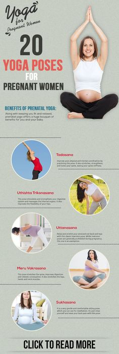 20 prenatal yoga poses. Yoga during pregnancy lowers the risk associated with gestational diabetes, gestational hypertension, intrauterine growth restriction, and even preterm labor! Plus it helps with those discomforts and aches that can sideline even the most active women.