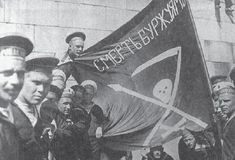 Anarchist Russian sailors of the Baltic Fleet in Helsinki, the flag reads 'Death to the Bourgeoisie! Russian Revolution 1917, February Revolution, Wilhelm Ii, Kaiser Wilhelm, Helsinki, Finnish Civil War, Laurel Et Hardy, The Bolsheviks, History Projects