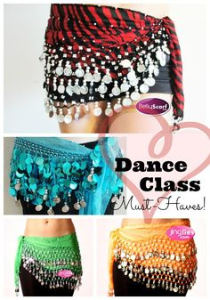 Seriously - if you Zumba, or do dance classes, or even dance style work out videos at home - these ROCK! And they're only ten bucks: Belly dancing scarves - dance class must-haves.