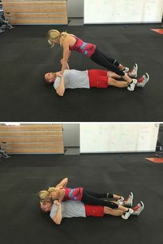 Have your guy lie on the ground while you stand facing him, straddling his ankles. Lean forward, keeping your body in a straight line from heels to shoulders, and clasp hands. Lower into a push-up, then hold your plank position while your guy pushes you away to perform a chest press. Repeat this cycle for 1 minute, then rest for 1 minute. Do 4 sets.