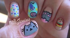 I just like being creative with my nails and hope you all enjoy watching my videos. Nail Designs 2015, Makeup Designs, Cute Nail Designs, Cat Nail Art, Cat Nails, Mani Pedi, Manicure, Pusheen Cute, Types Of Nails