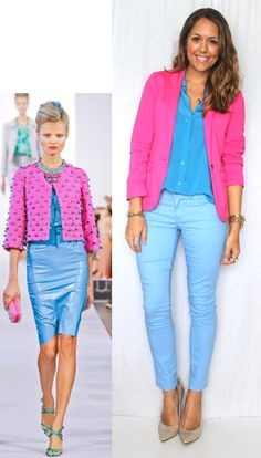 Inspiration: Oscar de la Renta Today's inspiration photo is like an assault on my eyes, but I like it. I thought - hey, why not try toning it down, so I added nude pumps and left the pom poms off my blazer. That still felt a little wild Baby Blue Pants, Blue Pants Outfit, Blue Dress Outfits, Blue Jean Outfits, Baby Blue Dresses, Light Blue Pants, Maxi Outfits, Blue Summer Dresses, Spring Outfits