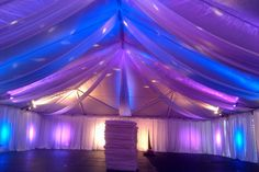 During a High School Gym into a Prom setting.  Always fun to set up a tent in a gym.   Celebration Party Rentals