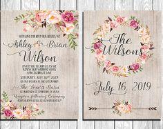 Invitación de la boda preciosa con fondo de textura de papel de acuarela marfil, elementos rústicos de acuarela florales y artículos concordantes.  Este set imprimible digital incluye: -----------------------------------------  Invitación de la boda, tarjeta de RSVP, guardar la fecha y tarjetas de agradecimiento, le enviará a usted como alta resolución, impresión listos archivos digitales, para que usted imprima en su casa o lleve a su impresora. Puedes imprimir tantos como quieras. No…