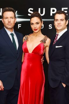 Miss Gal Gadot, Ben Affleck, and Henry Cavill at the Batman v Superman European Premiere in London, 22nd March 2016.