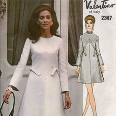 Vogue 2347 1970s Italian Couturier Designer VALENTINO A Line Dress Pattern with seam interest womens vintage sewing pattern    PatternGate - Craft Supplies on ArtFire
