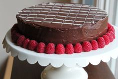 Moist Chocolate Cake with a Raspberry Filling & Chocolate Ganache {made for my dad's bday}