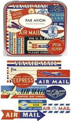 The Cavallini Par Avion Airmail Stickers set offers a huge variety of retro styling. Designs are primarily in English but include some foreign languages too; airmail goes all over the world. Gift tin includes 144 stickers.