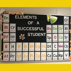 "The ""Elements"" of a Successful Learner classroom display will not only reinforce great attributes of successful students but will also… Science Bulletin Boards, School Bulletin Boards, Classroom Bulletin Boards, New Classroom, Classroom Displays, Classroom Design, Classroom Themes, Science Classroom Decorations, Middle School Classroom"