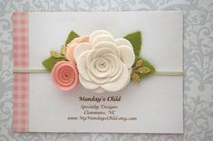This felt flower headband in linen and blush pink is super pretty! It measures 4 inches wide and is attached to a skinny elastic headband sized for your little one. Touches of gold glitter make it special! A sweet headband for any age! Please remember that you are purchasing a handmade