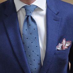 Claret, Cream and Blue Printed Linen Pocket Square