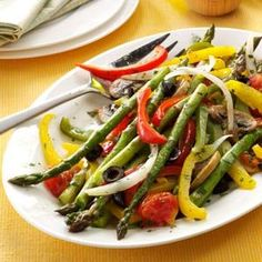 Grilled Asparagus & Veggies -**Diabetic Friendly**  1 serving equals 78 calories, 5 g fat (1 g saturated fat), 0 cholesterol, 241 mg sodium, 8 g carbohydrate, 2 g fiber, 3 g protein