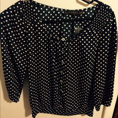 Navy blue/polka dot peasant blouse. New with tags! From The Limited. Retailed for $49.90. Size XS. The Limited Tops Blouses