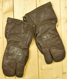 Vintage 1940's/50's US Navy Brown Leather Flight Gauntlet Gloves / USN /  Retro Collectable Rare