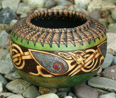 Celtic Birds Green Gourd Bowl by JRAGourdArt on Etsy, $75.00