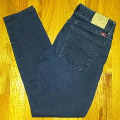 Lucky Brand Leyla Skinny jeans Lucky Leyla skinnies in dark blue wash.size 4/27. Inseam 26 inches. Front rise 8 inches. Waist measures 28 inches. These jeans have been professionally hemmed and are in excellent condition. Lucky Brand Jeans Skinny